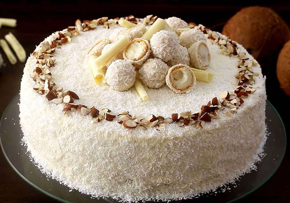 Бісквітний торт Рафаелло з мигдалем і кокосовою стружкою - покроковий рецепт, фото 1