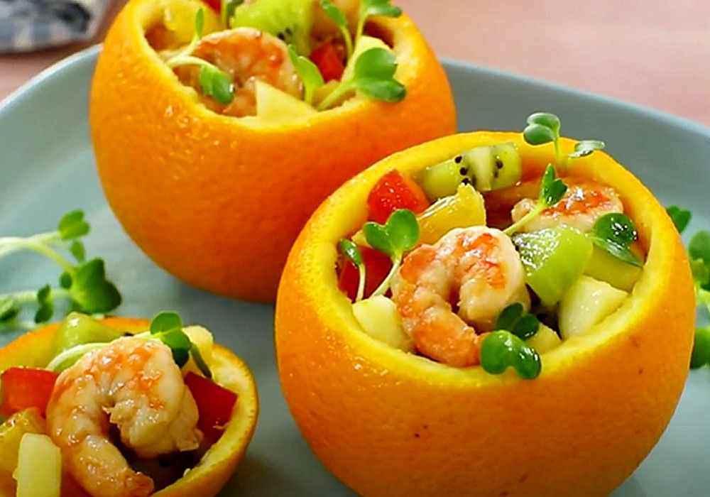 Фруктовый салат в апельсине - пошаговый рецепт, фото 1