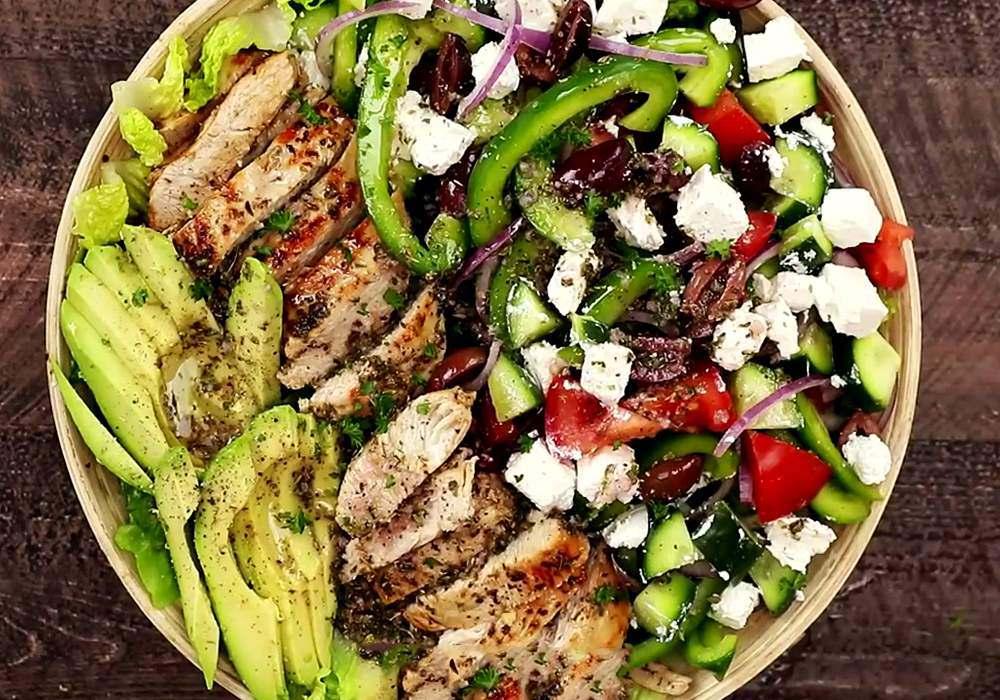 Греческий салат с курицей - пошаговый рецепт, фото 1