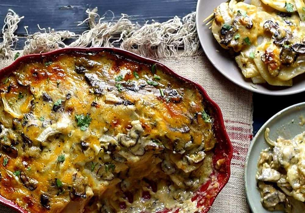 Картофель, запеченный с грибами с сыром - пошаговый рецепт, фото 1