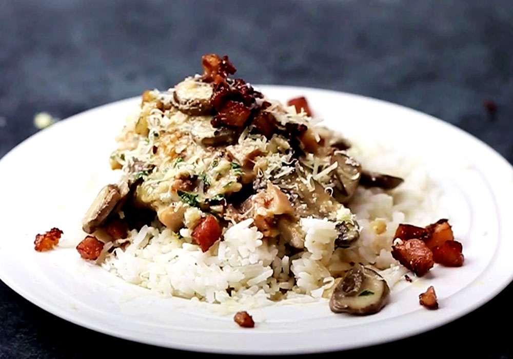 Курица с рисом, грибами и пармезаном - пошаговый рецепт, фото 1