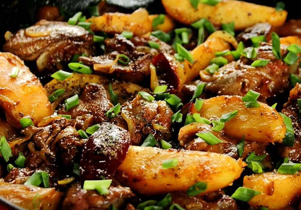 Куриная печень с яблоками - пошаговый рецепт, фото 1
