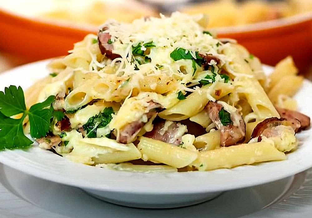 Макароны с сосисками - пошаговый рецепт, фото 1