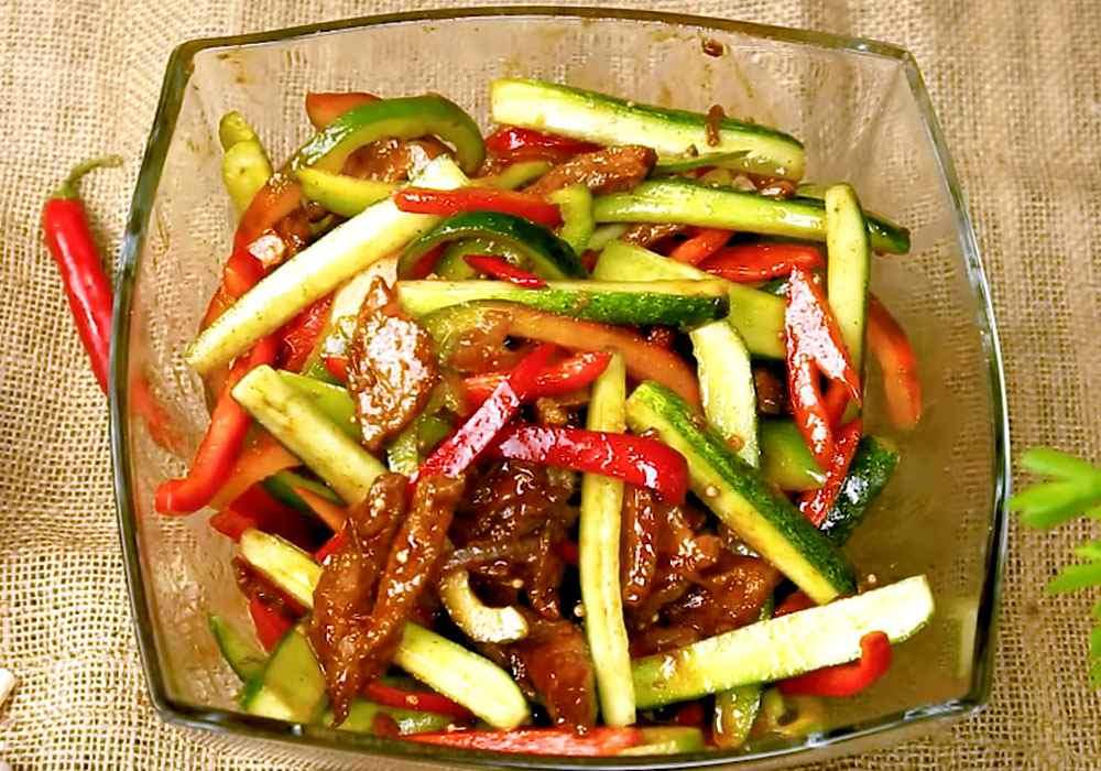 Огурцы с мясом по-корейски - пошаговый рецепт, фото 1