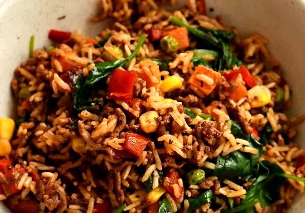 Рис с фаршем на сковороде - пошаговый рецепт, фото 1