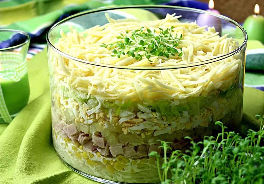 Салат с ветчиной слоями - пошаговый рецепт, фото 1