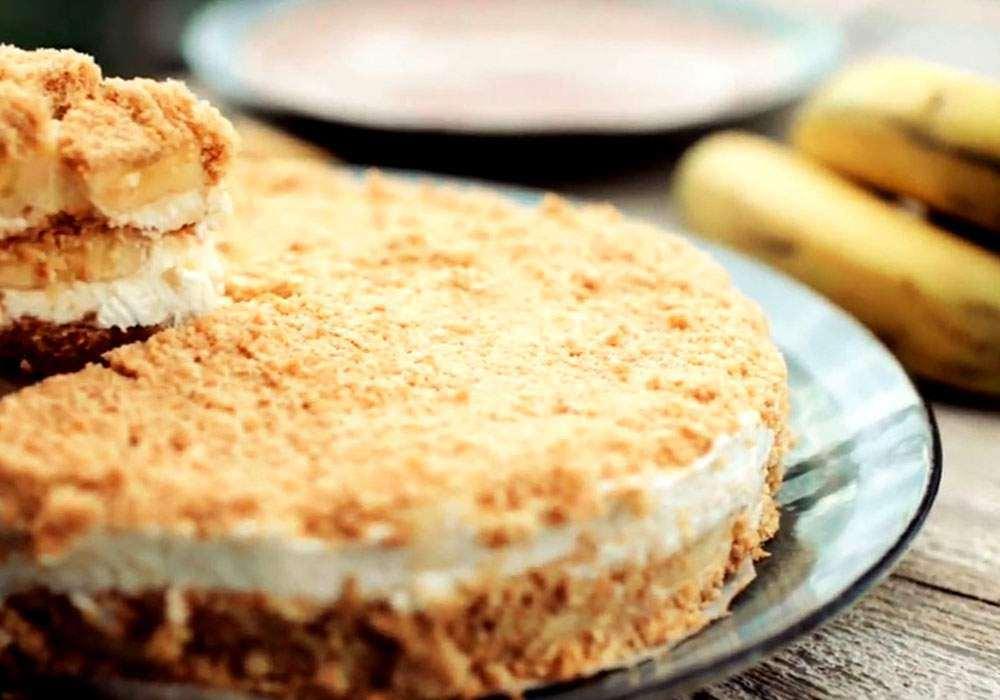 Торт из печенья сметаны и бананов без выпечки - пошаговый рецепт, фото 1