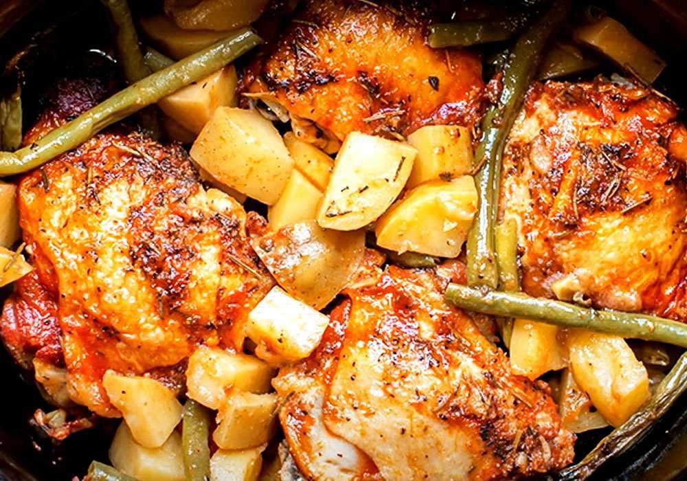 Тушеная картошка с курицей и фасолью (в мультиварке) - пошаговый рецепт, фото 1