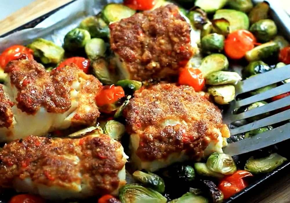 Запеченная брюссельская капуста с рыбой и помидорами - пошаговый рецепт, фото 1